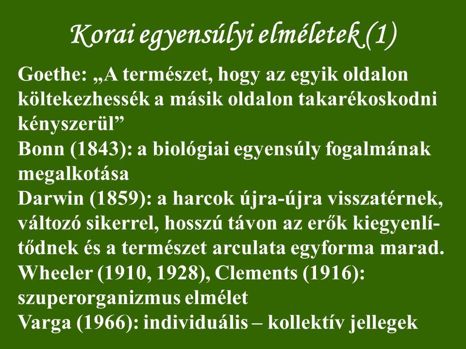 Korai egyensúlyi elméletek (2) [Jermy nyomán] Az életközösség egyensúlyban van, ha (1) az alkotó populációk denzitása állandó vagy állandó középérték körül ingadozik (Hesse, Friedriechs, Schwencke, Franz); (2) a populációk egyedszámának aránya állandó (Schwencke); (3) önszabályozásra képes (Friedriechs); (4) a biogeokémiai ciklusok akadálytalanul működnek (Renkonen, Maucha); (5) növénytársulása klimaxban van (Clements).
