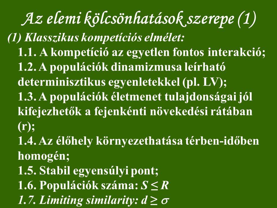 Az elemi kölcsönhatások szerepe (1) (1) Klasszikus kompetíciós elmélet: 1.1. A kompetíció az egyetlen fontos interakció; 1.2. A populációk dinamizmusa