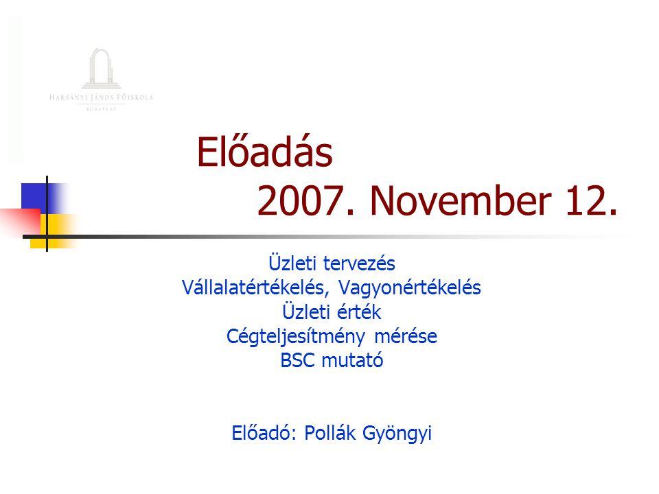 Előadás 2007. November 12. Üzleti tervezés Vállalatértékelés, Vagyonértékelés Üzleti érték Cégteljesítmény mérése BSC mutató Előadó: Pollák Gyöngyi