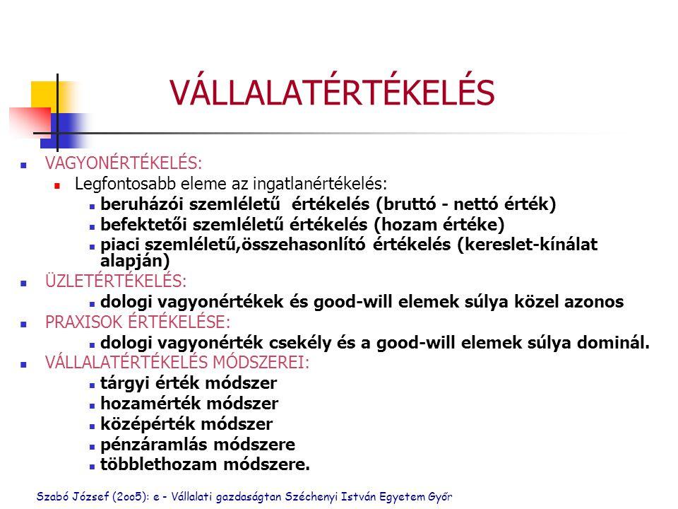 Szabó József (2oo5): e - Vállalati gazdaságtan Széchenyi István Egyetem Győr VÁLLALATÉRTÉKELÉS VAGYONÉRTÉKELÉS: Legfontosabb eleme az ingatlanértékelés: beruházói szemléletű értékelés (bruttó - nettó érték) befektetői szemléletű értékelés (hozam értéke) piaci szemléletű,összehasonlító értékelés (kereslet-kínálat alapján) ÜZLETÉRTÉKELÉS: dologi vagyonértékek és good-will elemek súlya közel azonos PRAXISOK ÉRTÉKELÉSE: dologi vagyonérték csekély és a good-will elemek súlya dominál.