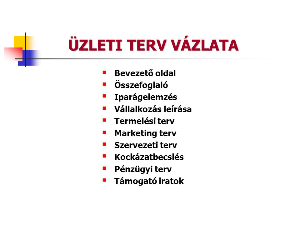 ÜZLETI TERV VÁZLATA  Bevezető oldal  Összefoglaló  Iparágelemzés  Vállalkozás leírása  Termelési terv  Marketing terv  Szervezeti terv  Kockázatbecslés  Pénzügyi terv  Támogató iratok