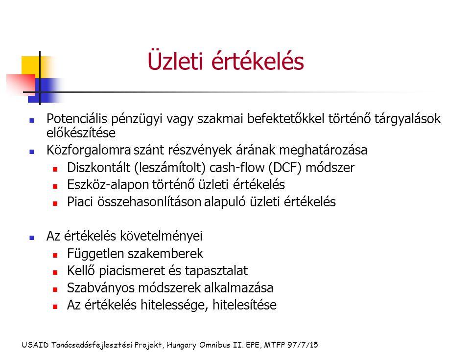 USAID Tanácsadásfejlesztési Projekt, Hungary Omnibus II. EPE, MTFP 97/7/15 Üzleti értékelés Potenciális pénzügyi vagy szakmai befektetőkkel történő tá
