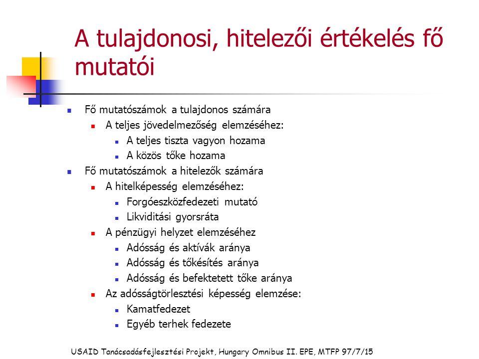 USAID Tanácsadásfejlesztési Projekt, Hungary Omnibus II. EPE, MTFP 97/7/15 A tulajdonosi, hitelezői értékelés fő mutatói Fő mutatószámok a tulajdonos