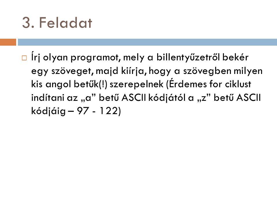 3. Feladat  Írj olyan programot, mely a billentyűzetről bekér egy szöveget, majd kiírja, hogy a szövegben milyen kis angol betűk(!) szerepelnek (Érde