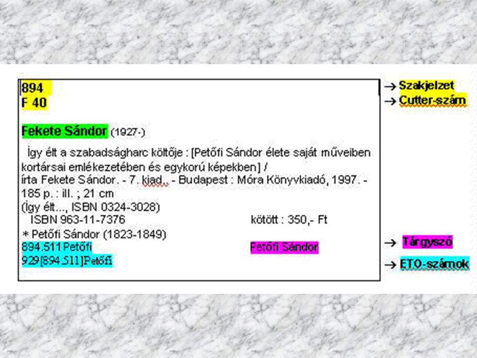 Gépi katalógus : -- számítógépes adatbázis -- a dokumentumok adatait rögzítik az adatbázisban, általában űrlap segítségével -- a visszakeresés szempontjából fontos adatokat indexeli a rendszer, később ezek alapján lesz visszakereshető a dokumentum -- a keresés szintén űrlap segítségével történik, ahol megadhatjuk a keresett adatot -- gyors, könnyen kezelhető