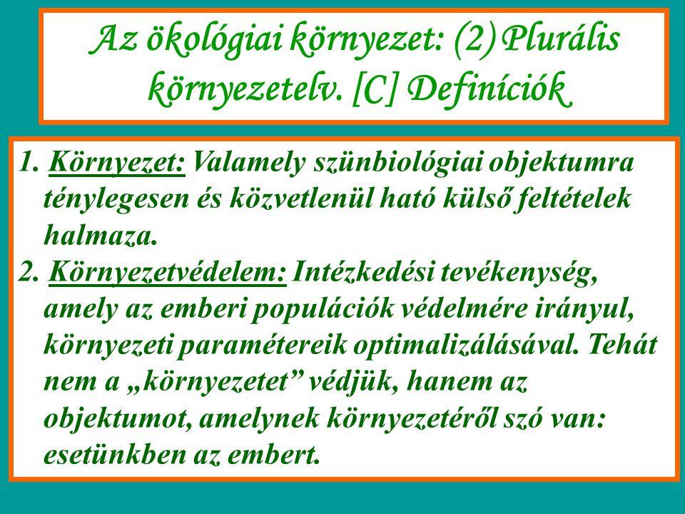 Az ökológiai környezet: (2) Plurális környezetelv. [C] Definíciók 1. Környezet: Valamely szünbiológiai objektumra ténylegesen és közvetlenül ható küls