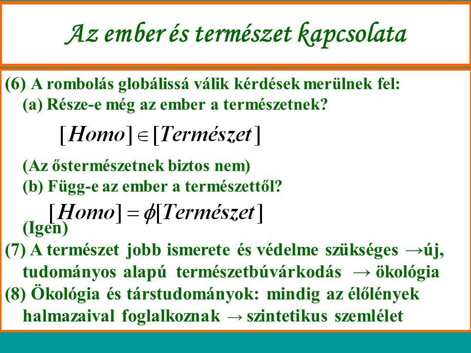 Az ökológiai környezet: (2) Plurális környezetelv.