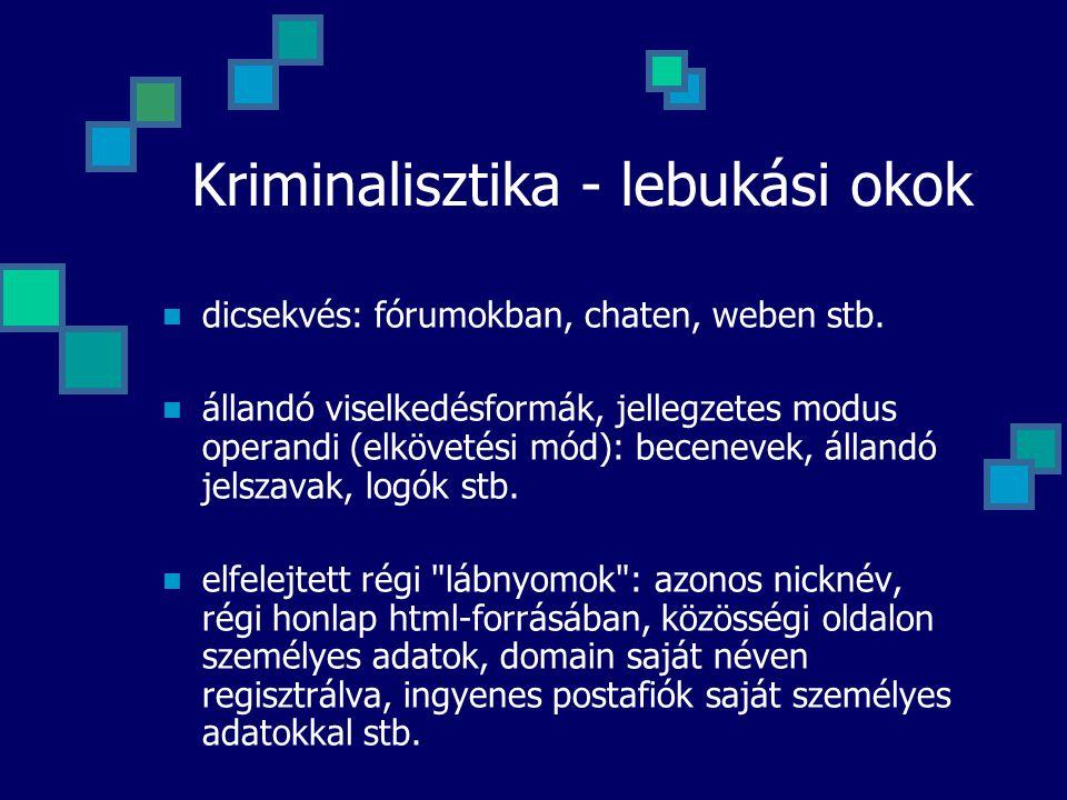 Kriminalisztika - lebukási okok dicsekvés: fórumokban, chaten, weben stb. állandó viselkedésformák, jellegzetes modus operandi (elkövetési mód): becen