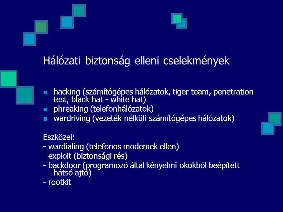 Hálózati biztonság elleni cselekmények hacking (számítógépes hálózatok, tiger team, penetration test, black hat - white hat) phreaking (telefonhálózat