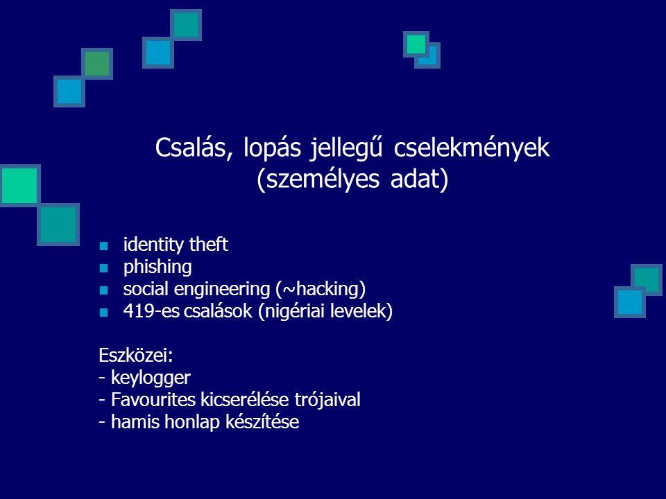 Csalás, lopás jellegű cselekmények (személyes adat) identity theft phishing social engineering (~hacking) 419-es csalások (nigériai levelek) Eszközei: