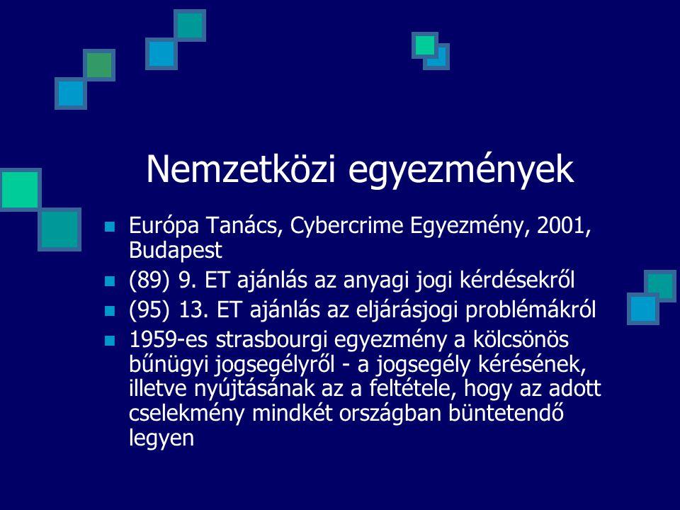 Nemzetközi egyezmények Európa Tanács, Cybercrime Egyezmény, 2001, Budapest (89) 9. ET ajánlás az anyagi jogi kérdésekről (95) 13. ET ajánlás az eljárá