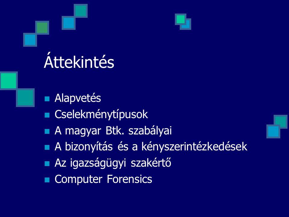Áttekintés Alapvetés Cselekménytípusok A magyar Btk. szabályai A bizonyítás és a kényszerintézkedések Az igazságügyi szakértő Computer Forensics