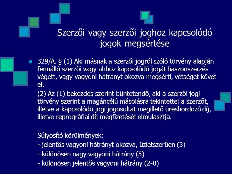 Szerzői vagy szerzői joghoz kapcsolódó jogok megsértése 329/A. § (1) Aki másnak a szerzői jogról szóló törvény alapján fennálló szerzői vagy ahhoz kap