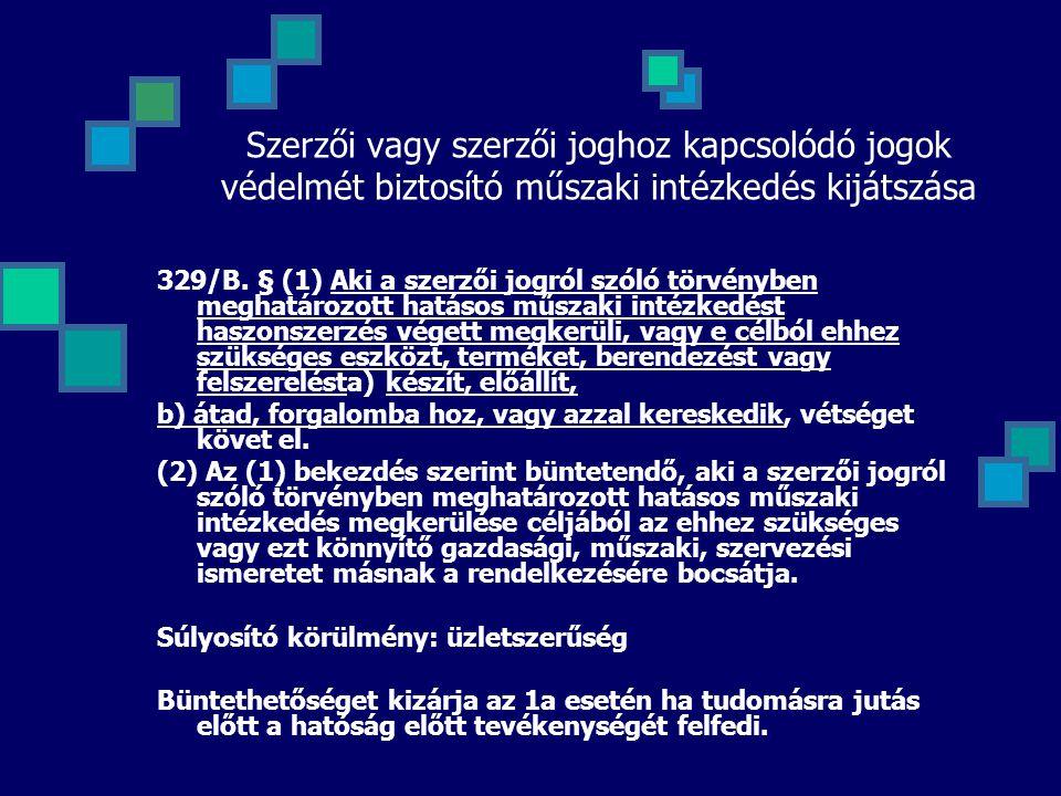 Szerzői vagy szerzői joghoz kapcsolódó jogok védelmét biztosító műszaki intézkedés kijátszása 329/B. § (1) Aki a szerzői jogról szóló törvényben megha