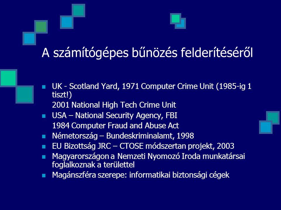 A számítógépes bűnözés felderítéséről UK - Scotland Yard, 1971 Computer Crime Unit (1985-ig 1 tiszt!) 2001 National High Tech Crime Unit USA – Nationa