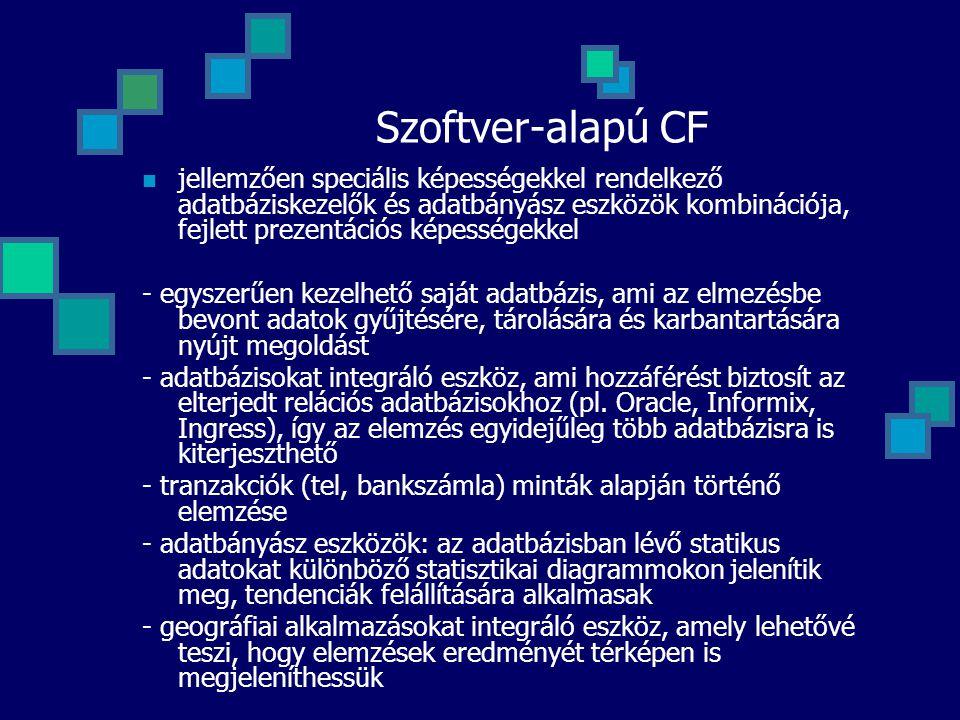 Szoftver-alapú CF jellemzően speciális képességekkel rendelkező adatbáziskezelők és adatbányász eszközök kombinációja, fejlett prezentációs képességek