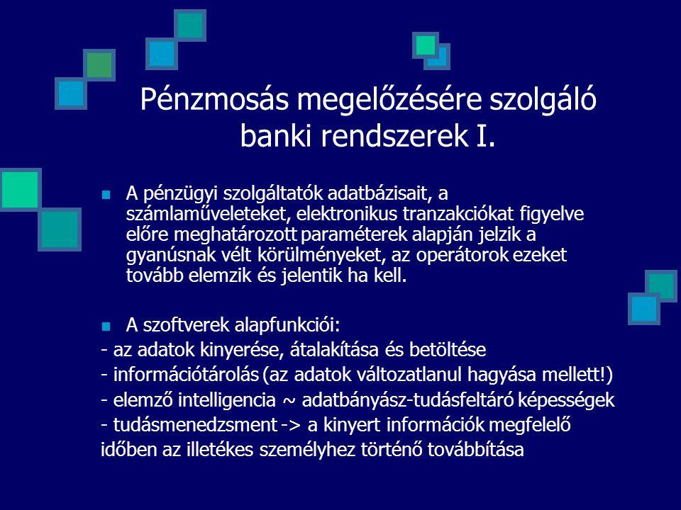 Pénzmosás megelőzésére szolgáló banki rendszerek I. A pénzügyi szolgáltatók adatbázisait, a számlaműveleteket, elektronikus tranzakciókat figyelve elő