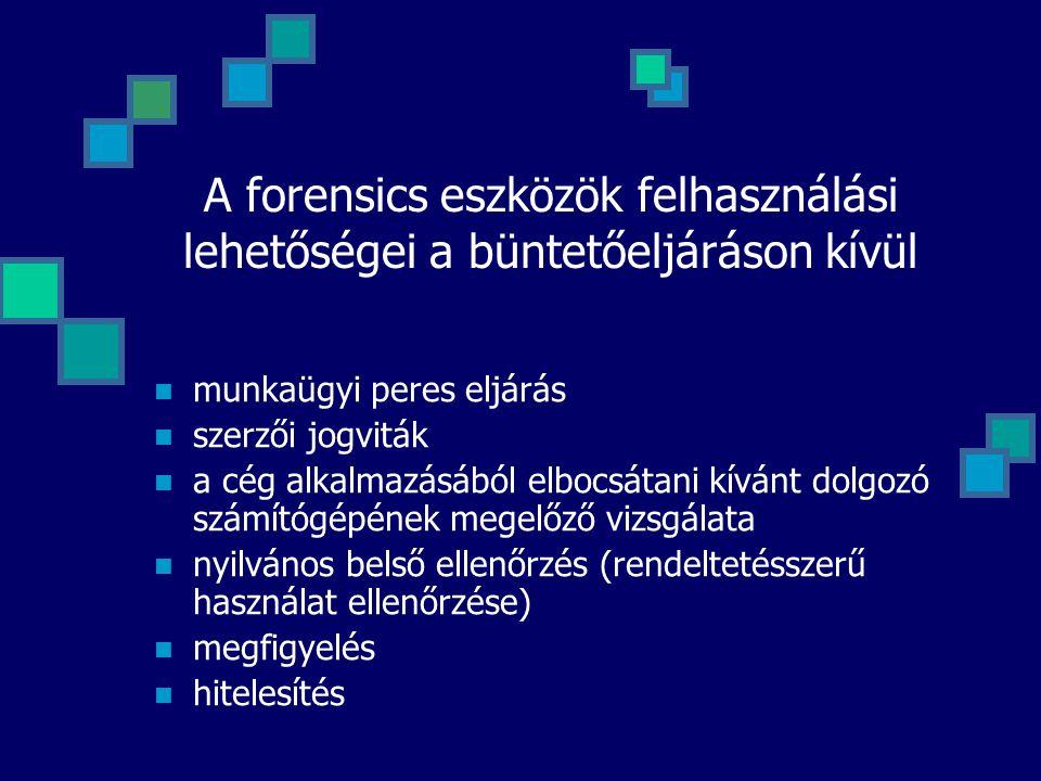A forensics eszközök felhasználási lehetőségei a büntetőeljáráson kívül munkaügyi peres eljárás szerzői jogviták a cég alkalmazásából elbocsátani kívá