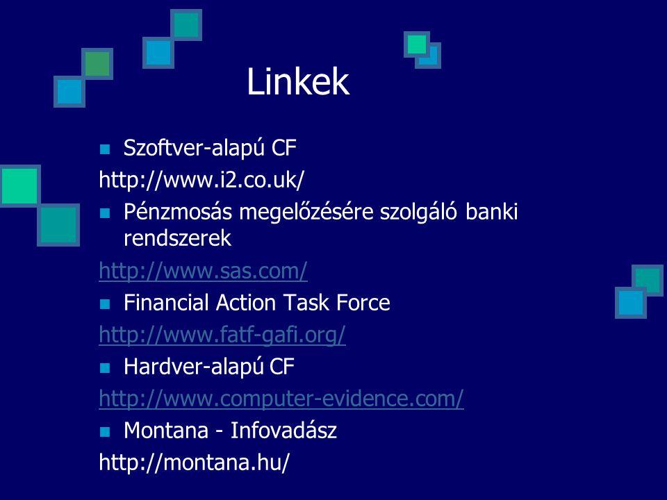 Linkek Szoftver-alapú CF http://www.i2.co.uk/ Pénzmosás megelőzésére szolgáló banki rendszerek http://www.sas.com/ Financial Action Task Force http://