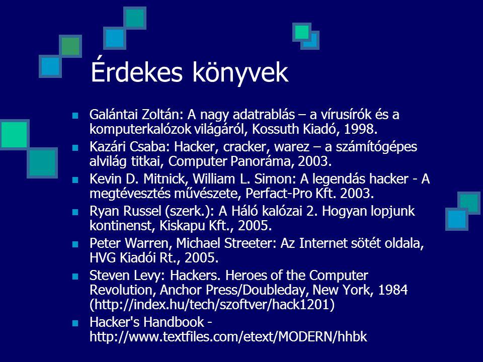 Érdekes könyvek Galántai Zoltán: A nagy adatrablás – a vírusírók és a komputerkalózok világáról, Kossuth Kiadó, 1998. Kazári Csaba: Hacker, cracker, w