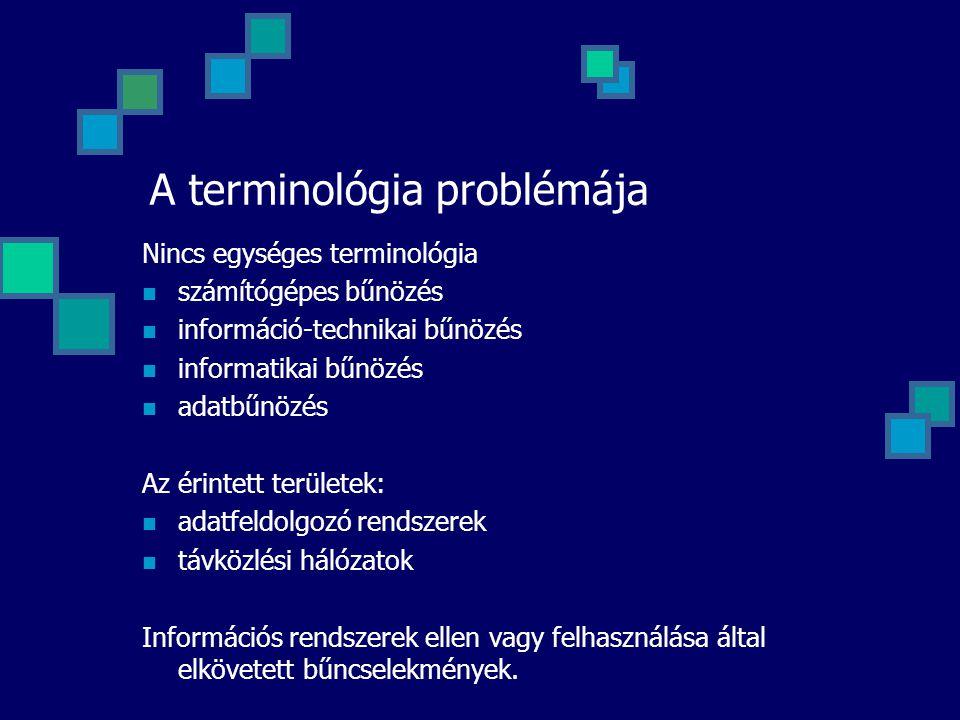 A terminológia problémája Nincs egységes terminológia számítógépes bűnözés információ-technikai bűnözés informatikai bűnözés adatbűnözés Az érintett t