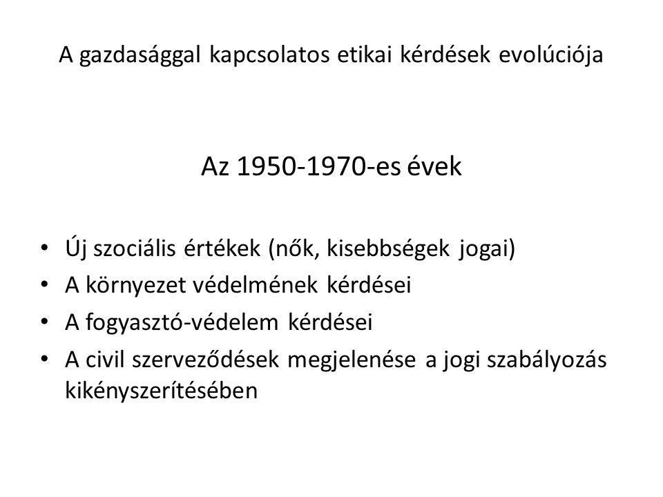 A gazdasággal kapcsolatos etikai kérdések evolúciója Az 1950-1970-es évek Új szociális értékek (nők, kisebbségek jogai) A környezet védelmének kérdése