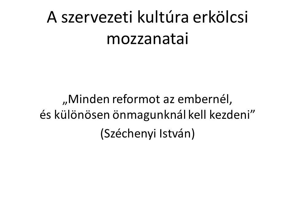 """A szervezeti kultúra erkölcsi mozzanatai """"Minden reformot az embernél, és különösen önmagunknál kell kezdeni"""" (Széchenyi István)"""