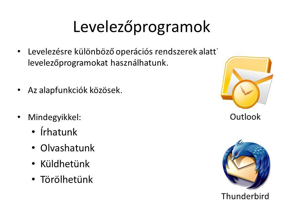 Levelezőprogramok Levelezésre különböző operációs rendszerek alatti levelezőprogramokat használhatunk. Az alapfunkciók közösek. Mindegyikkel: Írhatunk