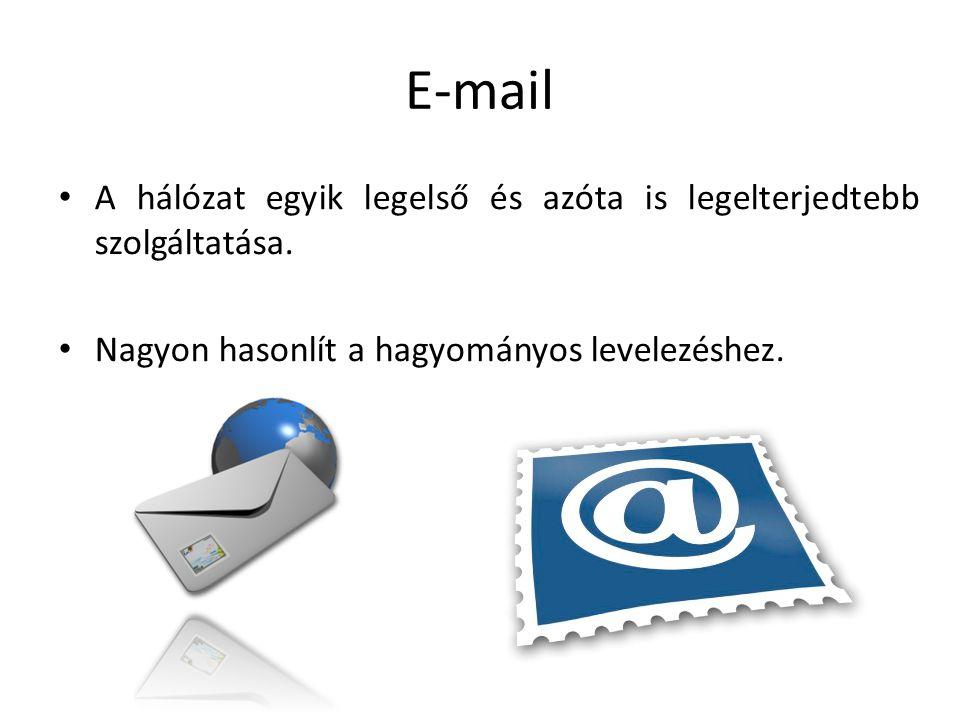 E-mail A hálózat egyik legelső és azóta is legelterjedtebb szolgáltatása. Nagyon hasonlít a hagyományos levelezéshez.