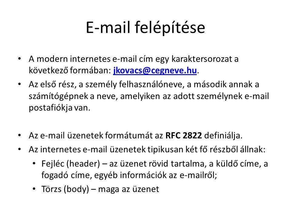 E-mail felépítése A modern internetes e-mail cím egy karaktersorozat a következő formában: jkovacs@cegneve.hu.jkovacs@cegneve.hu Az első rész, a szemé