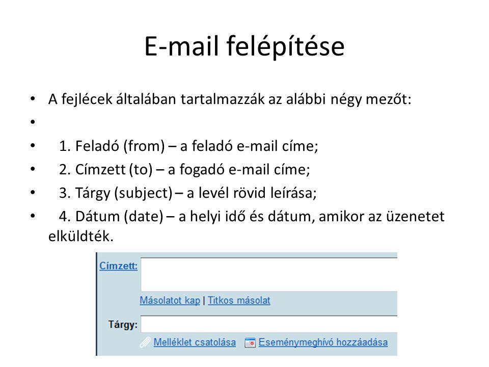 E-mail felépítése A fejlécek általában tartalmazzák az alábbi négy mezőt: 1. Feladó (from) – a feladó e-mail címe; 2. Címzett (to) – a fogadó e-mail c