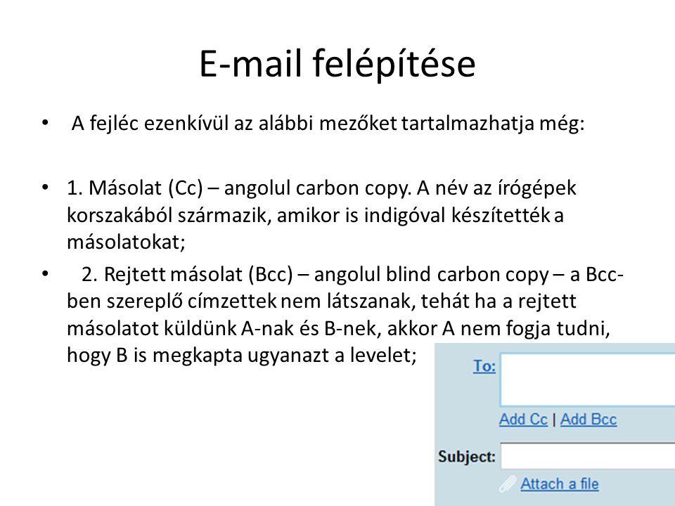 E-mail felépítése A fejléc ezenkívül az alábbi mezőket tartalmazhatja még: 1. Másolat (Cc) – angolul carbon copy. A név az írógépek korszakából szárma
