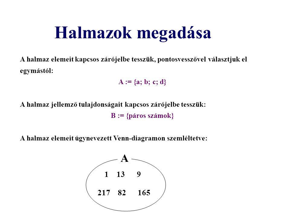 A halmaz elemeit kapcsos zárójelbe tesszük, pontosvesszővel választjuk el egymástól: A := {a; b; c; d} A halmaz jellemző tulajdonságait kapcsos zárójelbe tesszük: B := {páros számok} A halmaz elemeit úgynevezett Venn-diagramon szemléltetve: Halmazok megadása 1 13 9 217 82 165 A
