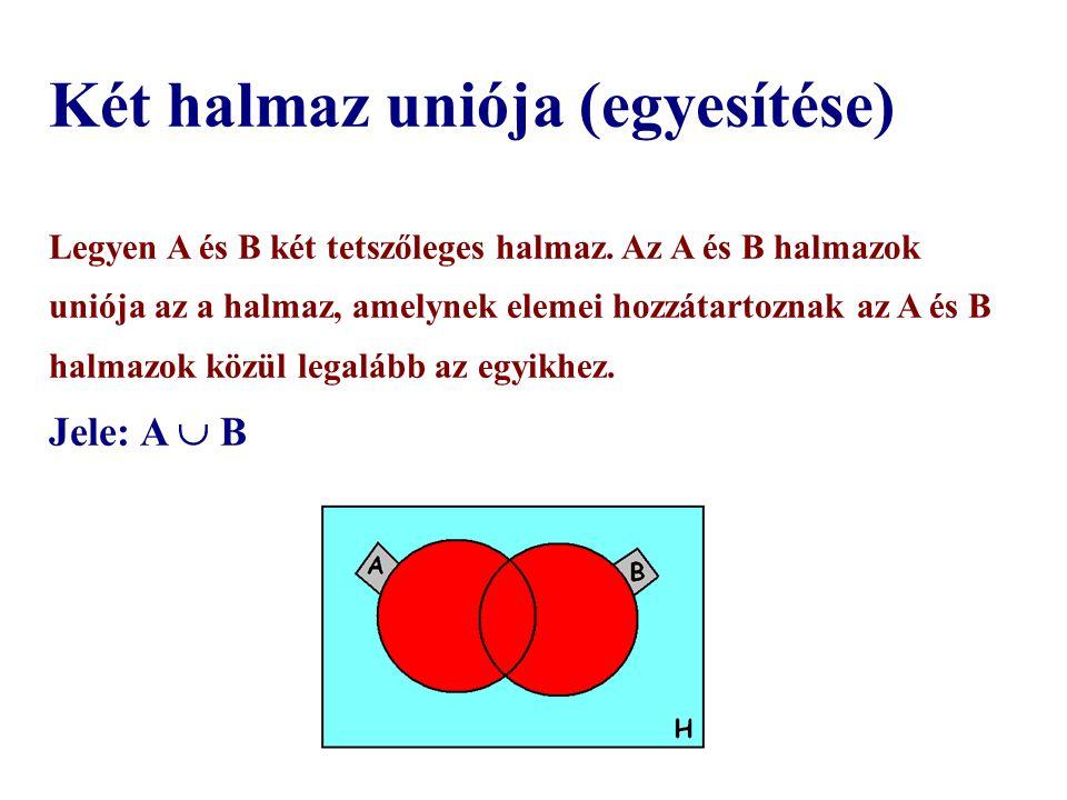Két halmaz uniója (egyesítése) Legyen A és B két tetszőleges halmaz.
