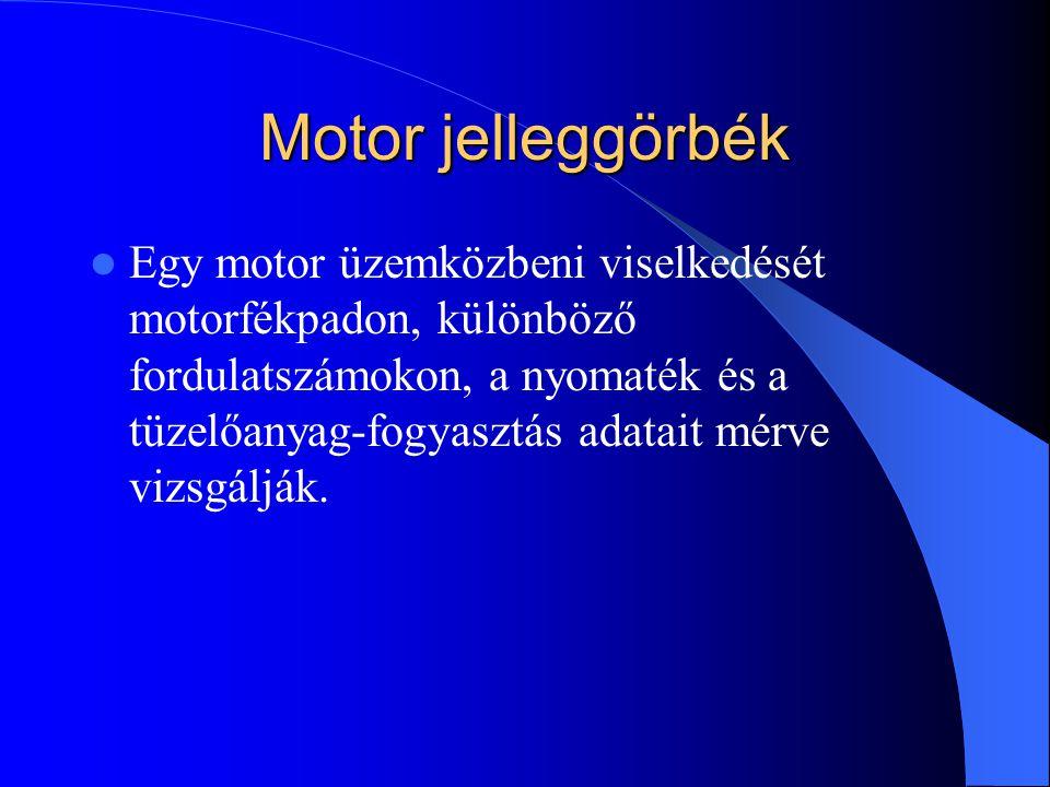 Motor jelleggörbék Egy motor üzemközbeni viselkedését motorfékpadon, különböző fordulatszámokon, a nyomaték és a tüzelőanyag-fogyasztás adatait mérve vizsgálják.
