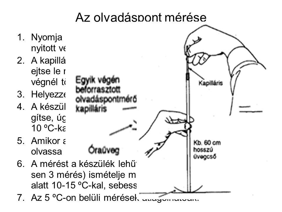 Az olvadáspont mérése 1.Nyomja a mérendő anyag finom porába a kapilláris nyitott végét.