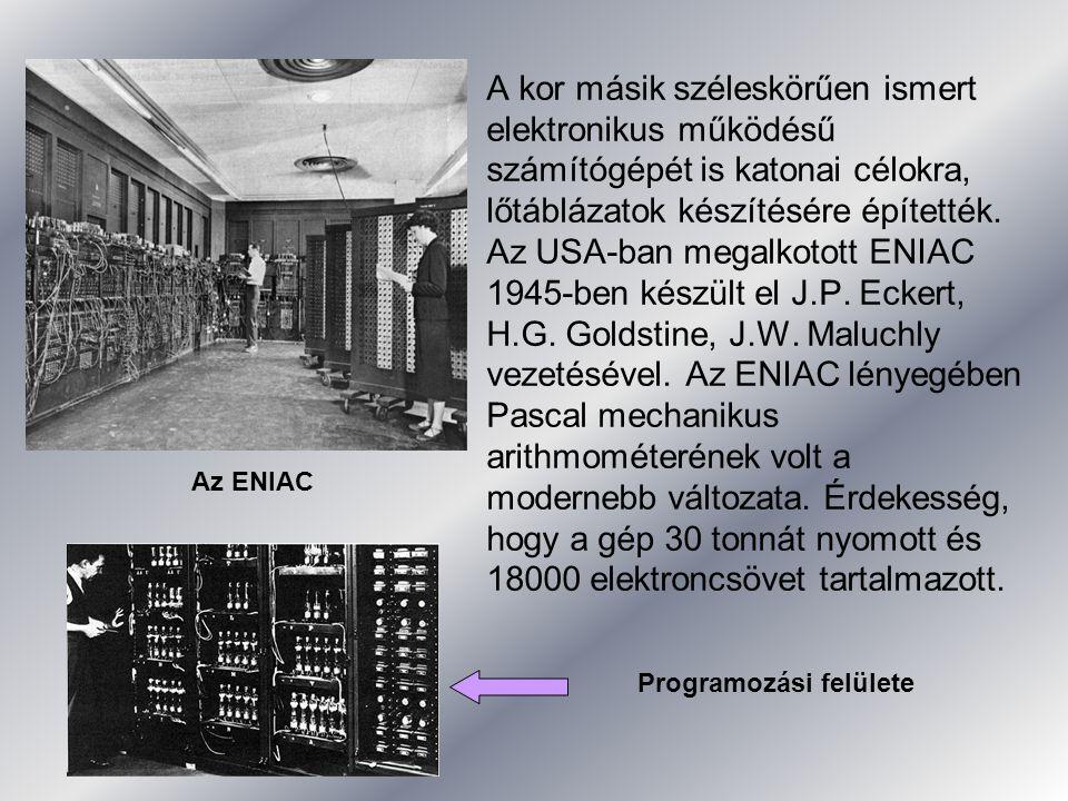 A kor másik széleskörűen ismert elektronikus működésű számítógépét is katonai célokra, lőtáblázatok készítésére építették. Az USA-ban megalkotott ENIA