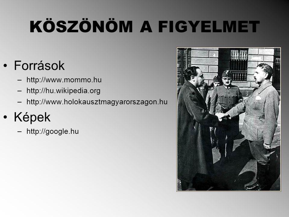 KÖSZÖNÖM A FIGYELMET Források –http://www.mommo.hu –http://hu.wikipedia.org –http://www.holokausztmagyarorszagon.hu Képek –http://google.hu