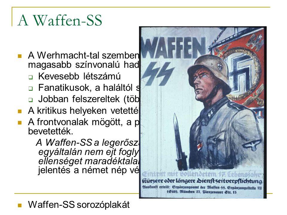 A Waffen-SS A Werhmacht-tal szemben jóval kisebb, de sokkal magasabb színvonalú hadosztályok KKevesebb létszámú FFanatikusok, a haláltól sem riadn