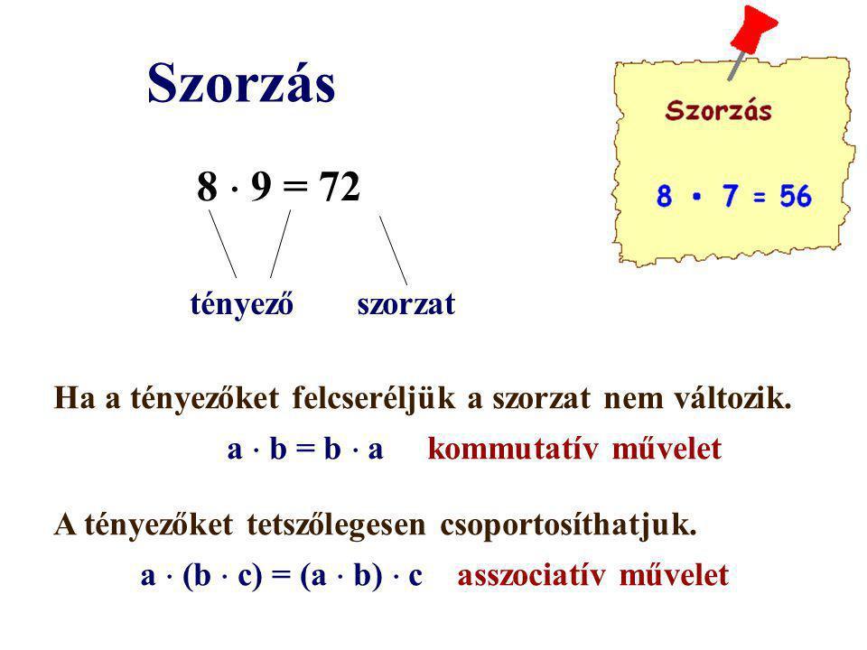 Szorzás 8  9 = 72 tényező szorzat Ha a tényezőket felcseréljük a szorzat nem változik. a  b = b  a kommutatív művelet A tényezőket tetszőlegesen cs