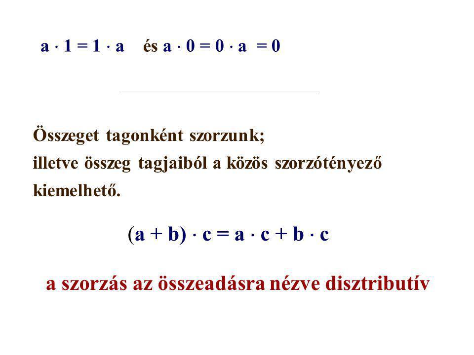a  1 = 1  a és a  0 = 0  a = 0 Összeget tagonként szorzunk; illetve összeg tagjaiból a közös szorzótényező kiemelhető. (a + b)  c = a  c + b  c