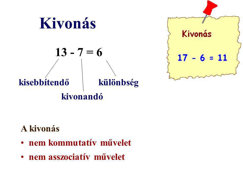 Kivonás 13 - 7 = 6 kisebbítendő különbség kivonandó A kivonás nem kommutatív művelet nem asszociatív művelet