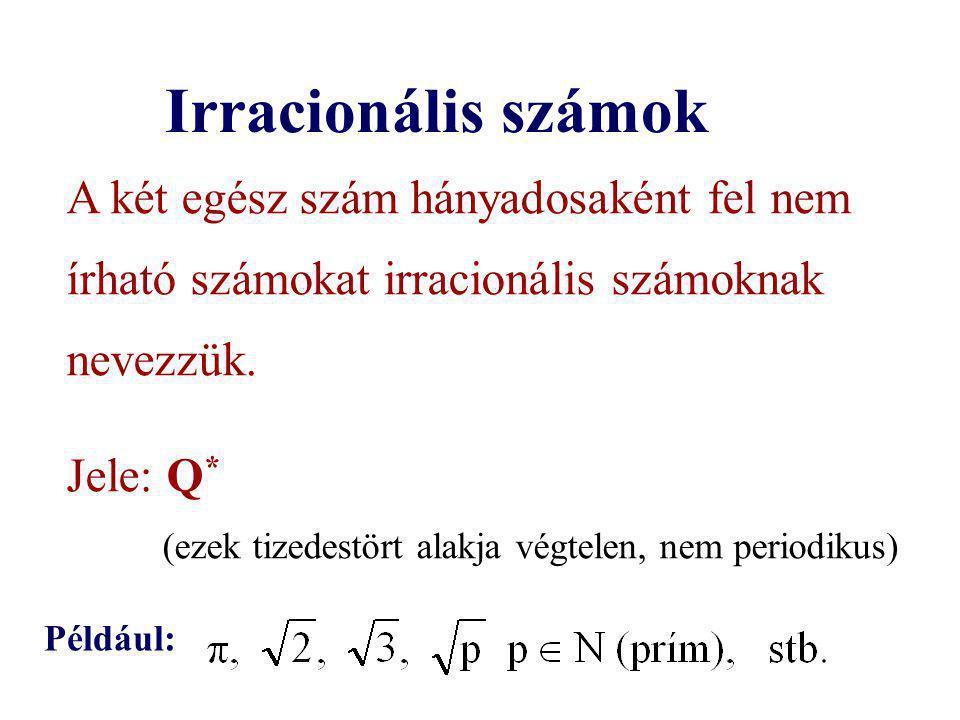 Irracionális számok A két egész szám hányadosaként fel nem írható számokat irracionális számoknak nevezzük. Jele: Q * (ezek tizedestört alakja végtele
