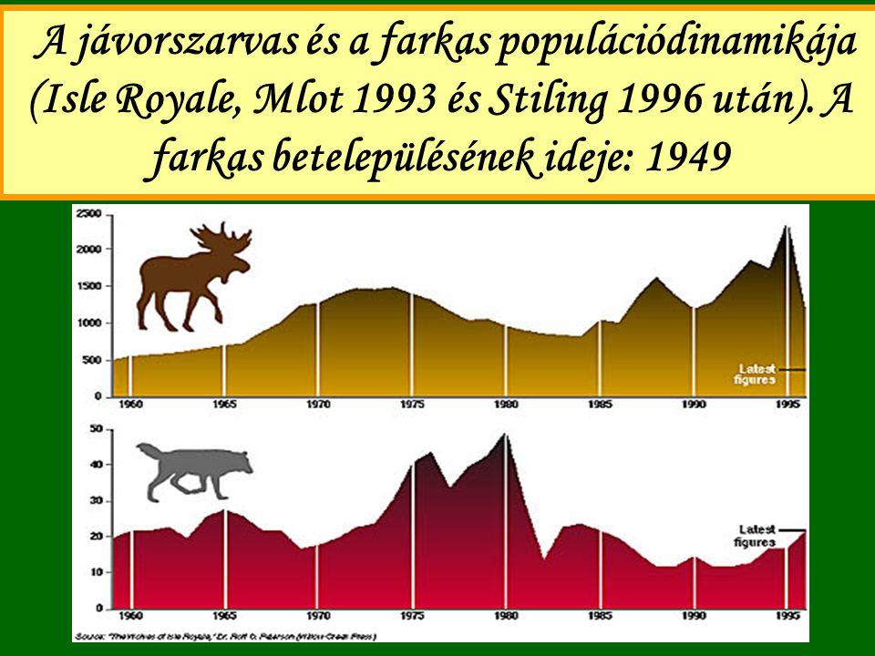 A jávorszarvas és a farkas populációdinamikája (Isle Royale, Mlot 1993 és Stiling 1996 után). A farkas betelepülésének ideje: 1949