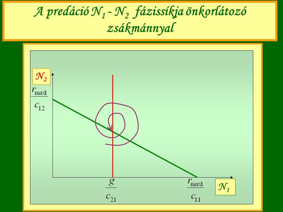A predáció N 1 - N 2 fázissíkja önkorlátozó zsákmánnyal N1N1 N2N2