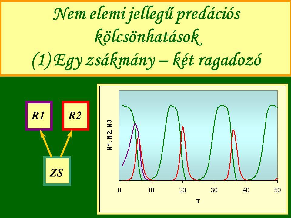 Nem elemi jellegű predációs kölcsönhatások (1) Egy zsákmány – két ragadozó ZS R1R2
