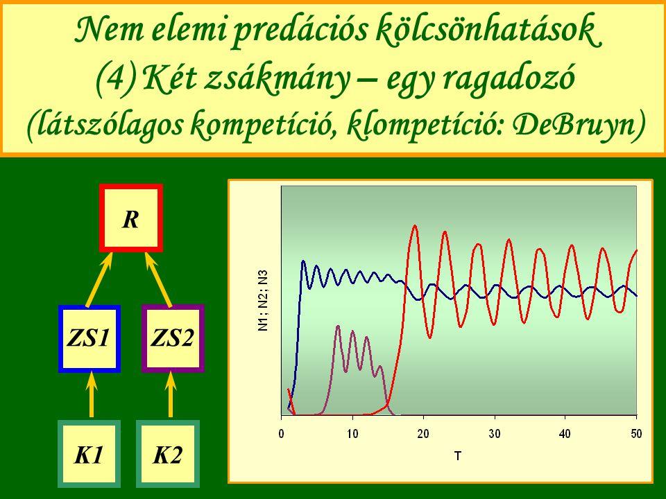 Nem elemi predációs kölcsönhatások (4) Két zsákmány – egy ragadozó (látszólagos kompetíció, klompetíció: DeBruyn) ZS1ZS2 R K1K2