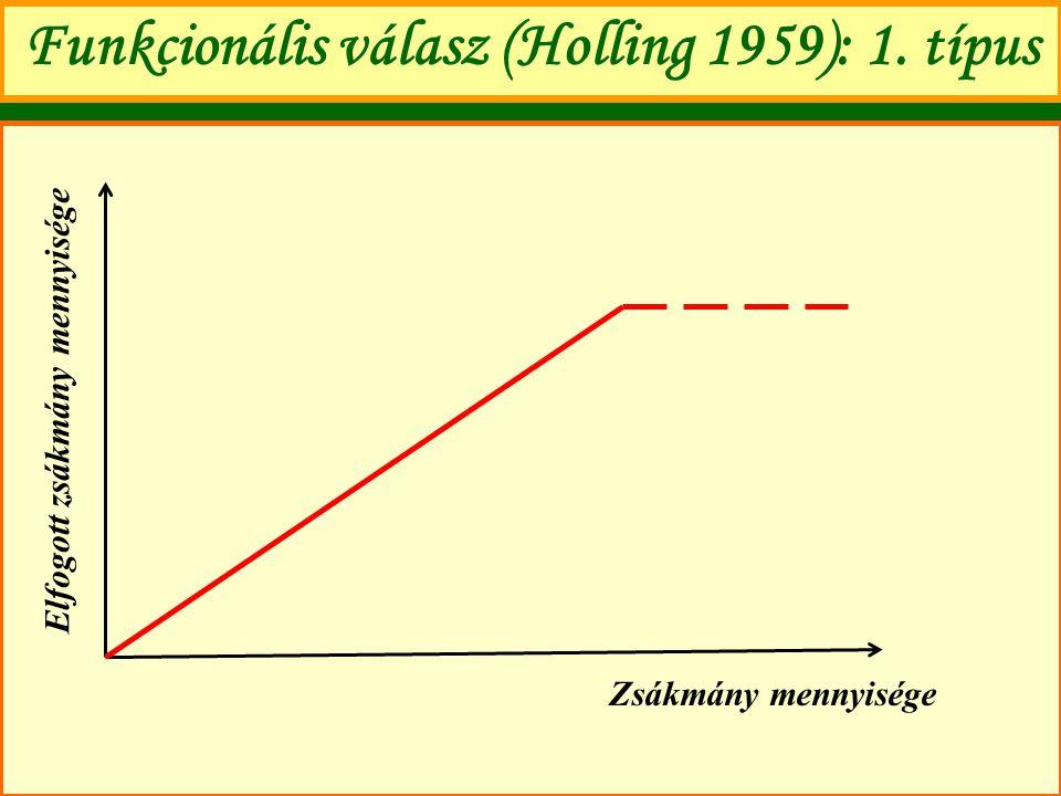 Funkcionális válasz (Holling 1959): 1. típus Zsákmány mennyisége Elfogott zsákmány mennyisége