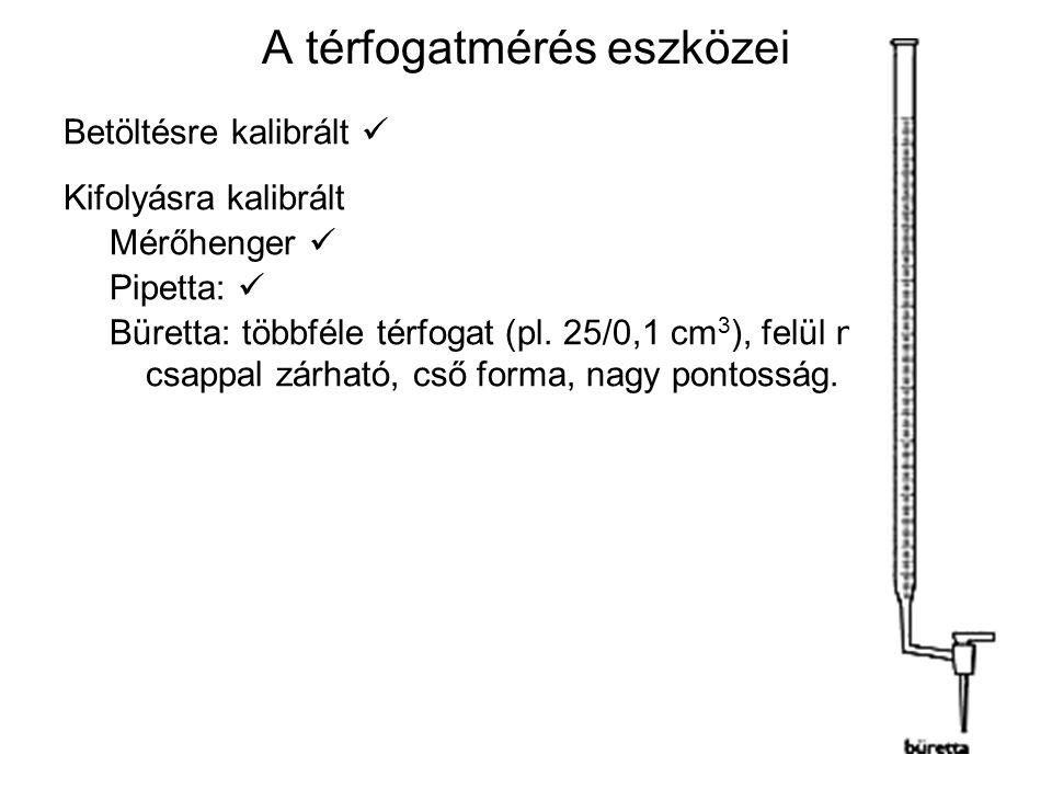 A térfogatmérés eszközei Betöltésre kalibrált Kifolyásra kalibrált Mérőhenger Pipetta: Büretta: többféle térfogat (pl. 25/0,1 cm 3 ), felül nyitott, a