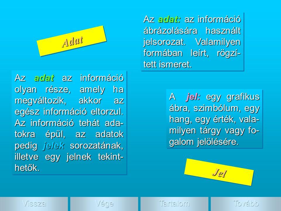 Adat, jel Az adat az információ olyan része, amely ha megváltozik, akkor az egész információ eltorzul. Az információ tehát ada- tokra épül, az adatok